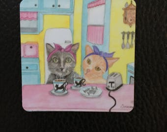 Magnet, 2 inches x 2 inches, rounded corners, fridge, I love Lucy, adorable cats, Perfect Small Gift
