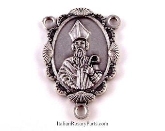 Saint Patrick Rosary Center Medal In Scalloped Frame | Italian Rosary Parts