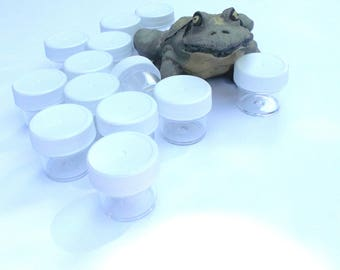 Clear polystyrene containers,jars,containers,makeup,powders,trial size,sample size,supply