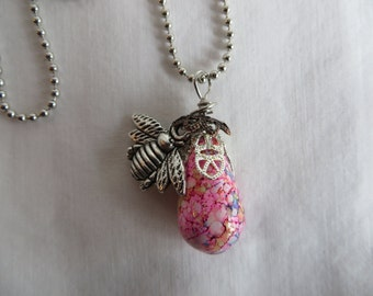 """18"""" Honey Bee Necklace on Ball Chain, necklace, honey bee, bee, ball chain"""
