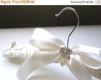 ON SALE Padded Ivory Satin Bridal Hanger. Rhinestone Button & Pearl Drop. Shower GIFT Chic Grande Bows. Rhinestone Dress Guards. Bride Maids