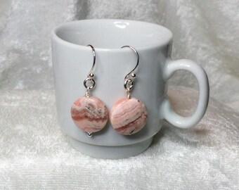 Rhodochrosite and Sterling Silver Dangle Earrings