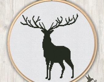 Deer Cross Stitch Pattern, modern cross stitch pattern, needlecraft