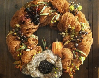 Fall Wreath-Autumn Wreath with Acorns, Pine Cones, Berries, a Pumpkin and a Lotus-Fall Deco Mesh Wreath