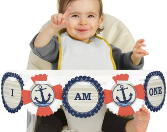 Ahoy Nautical - 1st Birthday - I Am One - First Birthday High Chair Banner - First Birthday Party Decorations