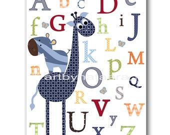 Digital Alphabet Nursery Art Baby Nursery Decor Printable Decor Baby Boy Nursery Digital Art Printable Wall Art 8x10 11X14 INSTANT DOWNLOAD