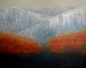 Icy Mountains, Landscape, original painting