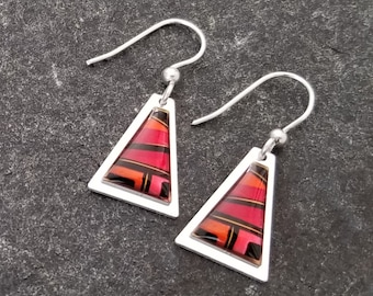 Modern Metal Jewelry, Abstract Dangle Earrings in Red, Orange, & Black, Presents For Her, Mother's Day Gift - Tahiti Earrings by Jon Allen