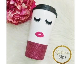 Sleepy Beauty Face Glitter To Go Cup // Glitter Cup // Glitter Coffee Cup // Mother's Day // Birthday Gift // Sleepy // Glitter Dipped