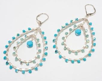 Large Turquoise Earring, Double Hoop Earring, Beaded Hoop Earrings, Silver Teardrop Hoops, Aqua Blue, Pacific Opal Earrings