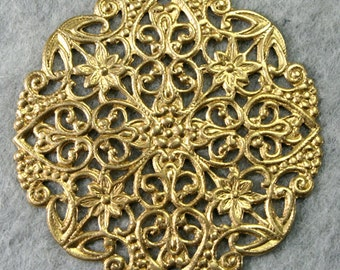Stunning Round Raw Brass Filigree Stamping Floral Base Victorian Ornate 50mm / 2 inches USA FR6949 - 1pc