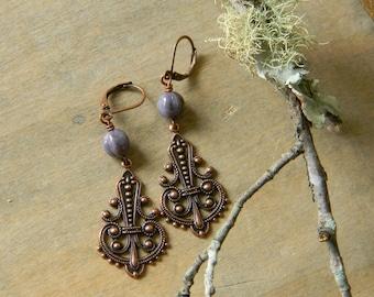 Copper earrings purple beaded earrings copper dangle earrings beaded jewelry bohemian jewelry boho style unique gift bohemian earrings