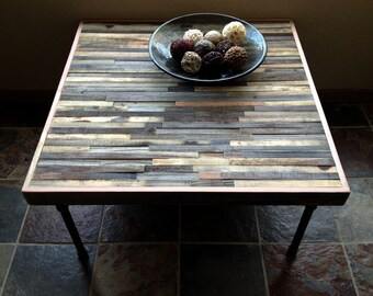 "36"" Barn wood Coffee Table - Industrial - Mid-Century - Modern - Contemporary - Rustic Zen - Mosaic Pattern"