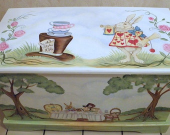 Custom personalized tea party toy box inspired by Alice in Wonderland, wooden toy chest, kids furniture