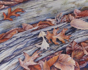 Late Fall/ Autumn Leaves Painting/ Watercolor Original Art by Olena Baca