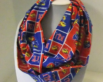 Infinity Scarf  - Loop Scarf - Circle Scarf -  made by me with liscenced Jayhawk KU fabric - Cotton -reduced price