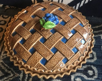 Beautiful Blueberry Pie Covered Plate