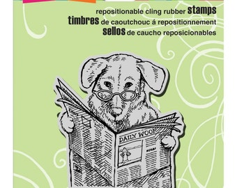 Newspaper Pup - Cling Rubber Stamp by Stampendous