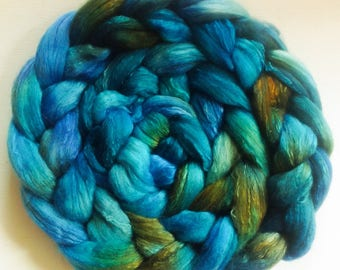 Hand Dyed shimmer roving 3ozs  polwarth mulberry silk 70/30 ready to ship