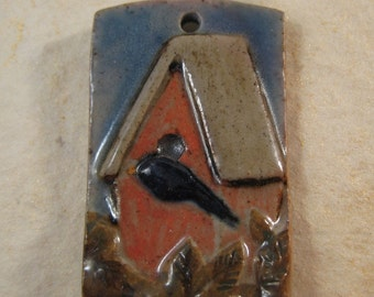 Ceramic Pottery Pendant - Bird House with Bluebird