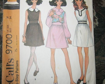 McCall's Dress Pattern #9700, Copyright 1969, Step By Step Pattern, Size Junior Petite 11, Dress And Vest Pattern,
