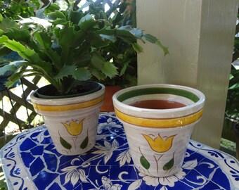 Vintage Della-Ware  Flower Pots - set of two