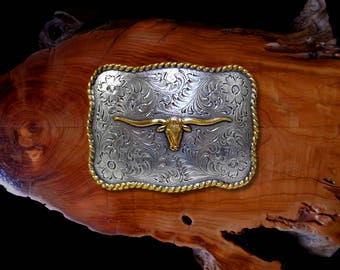 "Texas Longhorn Buckle * Antique Sterling Silver & Gold Plated * Western Belt Buckle * Fits Belts up to 1 1/2"" (38 mm) * Best Quality"