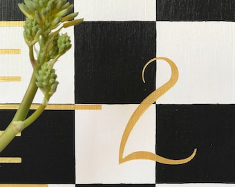 Black White Check | Growth Chart | Hand Painted | Wood Ruler | Measuring Stick | Checkered Decor | Kitchen Decor l Gold Accent | Nursery