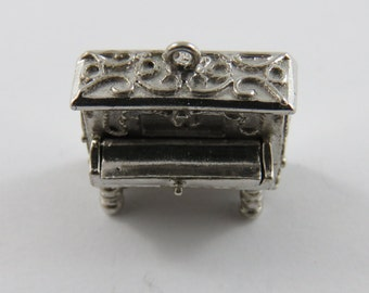 Mechanical Piano with Lid that Opens to Show the Piano Keys Sterling Silver Charm of Pendant.
