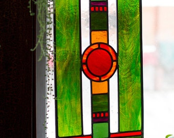 Art Deco Stained Glass Window Panel - Jewel Tones