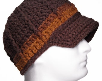 Newsboy Beanie with Visor, Butterscotch Toffee Truffle