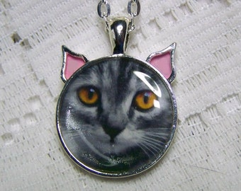 Cat Lover Jewelry - Gray Cat Orange Eyes Pendant - Cat Neecklace - Gray Cat Jewelry - Cat Art Necklace - Gray Kitty - Grey Kitty - Grey Cat