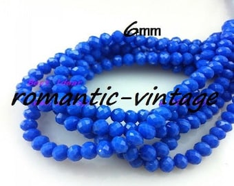 20 Crystal faceted rondelle beads 6mm Royal Blue