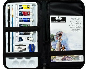 Acrylic Paint Essential Set In Zippered Carrying Case, Basic Travel Paint Kit With Case For Beginning Painters Or Gift For Beginning Artists