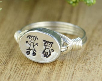 Custom Stick Figure Family Wrap Ring- Sterling Silver, Yellow or Rose Gold Filled Wire/2 People Pewter Bead- Size 4 5 6 7 8 9 10 11 12 13 14