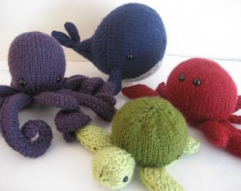 Sale - Amigurumi Knit Sea Creatures Pattern Set Digital Download