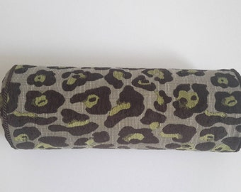 Brown and Green Leopard Print Designer Bolster - Size 16 in x 6 in