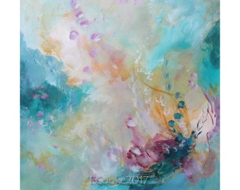Abstract Modern Expression Art Original Contemporary Painting pink blue yellow Musing 156