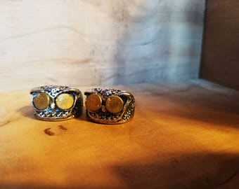 Petite - Horned Owl stainless ring made with spent ammunition