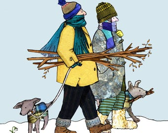WINTERS WALK , A couple and their dogs set out on a wintry day . Printed card from a collage original .