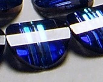 12pc - 6mm Set of Rare Vintage Swarovski Crystal Bermuda Blue II Pagoda Beads Article 5107