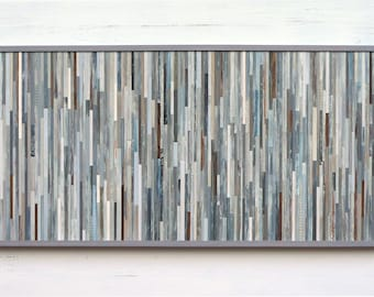 Reserved, Modern Rustic Wood Art, Patchwork Gray, 22 x 45