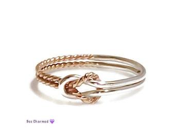 Knot ring, buckle knot ring, mixed metal ring, promise ring, gold ring, silver ring, sailor knot ring, bridesmaid gift