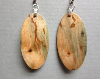 Unique Green Wood - Fungus Wood Earrings, Handmade ExoticWoodJewelryAnd ecofriendly