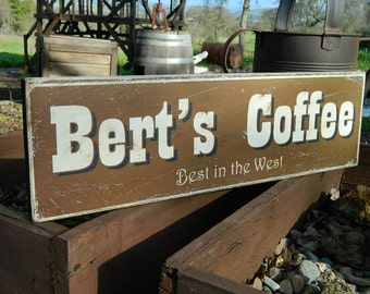 """Distressed Primitive Country Wood Sign - Your Name Coffee sign  5.5"""" x 19"""""""