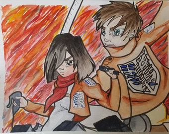 ATTACK ON TITAN - Mikasa and Eren - A4 watercolor drawing