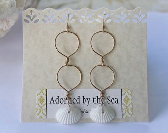 14kt Gold Filled Double Drop Hoops Adorned with Natural White Clam Sea Shells