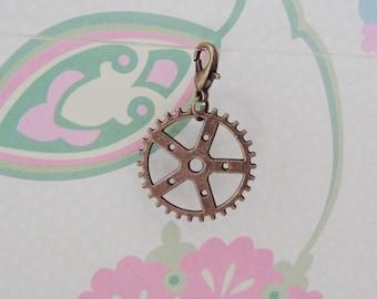 Bronze Steampunk/Gear Clip On Bracelet Charm/Purse Charm/Zipper Pull Charm/Planner Charm - Ready to Ship