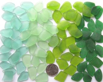"Sea Glass PENDANTS 1"" Freeform 96 pc Assorted Green Seafoam Olive Wholesale Lot making sea glass"