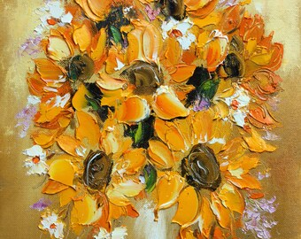 Sunflowers Giclee art print, Oil Painting print, Sunflower painting, Floral Still life, Sunflower wall decor, Modern artwork, Yellow Flowers